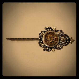 Vintage Bronze Leaf Button Bobby Pin